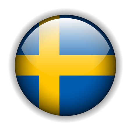 Flag of Sweden, swedish flag glossy button Vector
