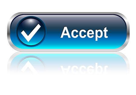 verify: Accettare, controllare icona simbolo, pulsante, blu lucido con ombra