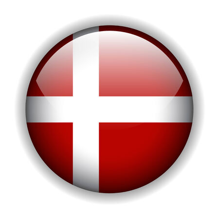 National flag of Denmark - Danish flag. glossy button Stock Vector - 6425742