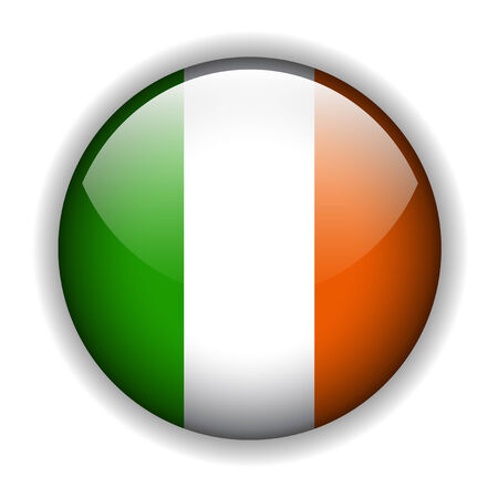 irland: Nationalflagge von Irland % uFFFD Irish Flag. Glossy button Illustration