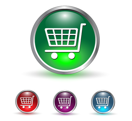 acquire: Shopping cart, buy icon button, multicolored set. Illustration