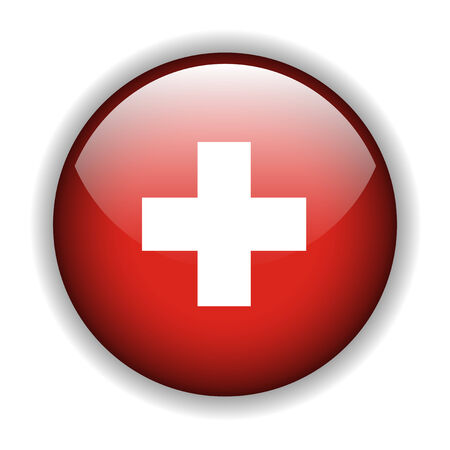 rounded circular: National flag of Switzerland, Swiss flag. glossy button