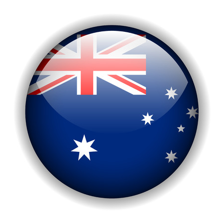 rounded circular: National flag of Australia - Australian flag, glossy button Illustration