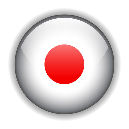 rounded circular: National flag of Japan, glossy button