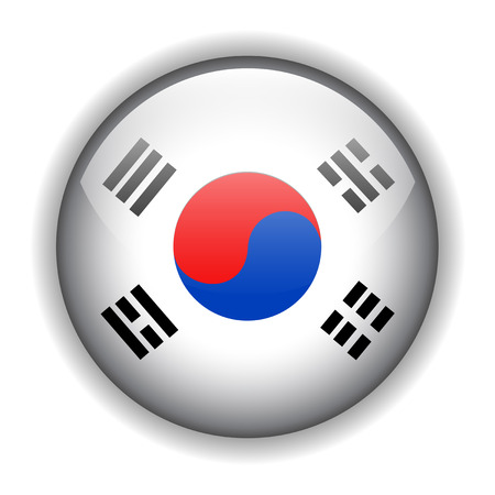rounded circular: National flag of South Korea %uFFFD Korean flag. glossy button