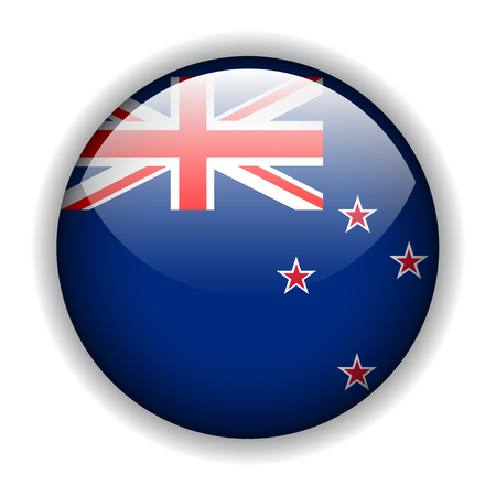 zealand: Flag of New Zealand - New Zealands flag, glossy button