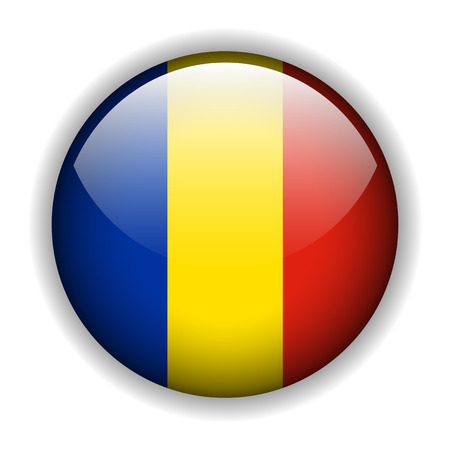National flag of Romania, glossy button Stock Vector - 6425754