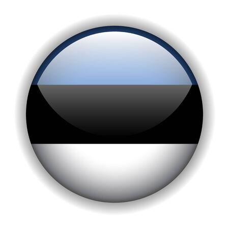 Flag of Estonia, glossy button Vector