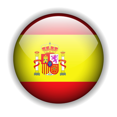 bandiera spagnola: Bandiera spagnola, bandiera spagnola, pulsante di lucido Vettoriali