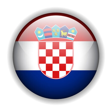 croatia: Flag of Croatia, Croatian flag, glossy button Illustration
