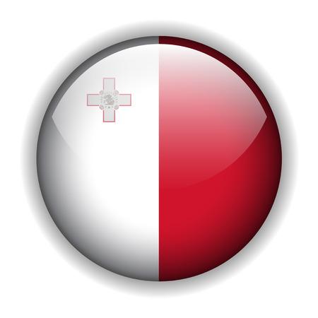 malta: Vlag van Malta, glanzende knop Maltan markeren Stock Illustratie