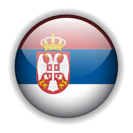 serbien: Flagge von Serbien glossy button Illustration