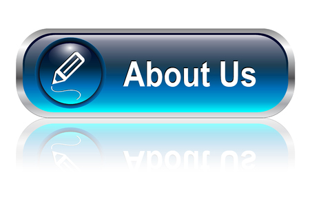 about us: About us button, icon blue glossy with shadow, illustration Illustration