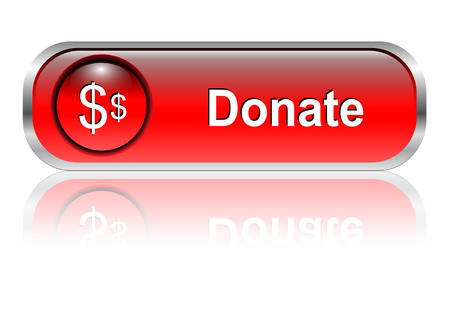contribution: Donate, support button, icon red glossy with shadow,  illustration