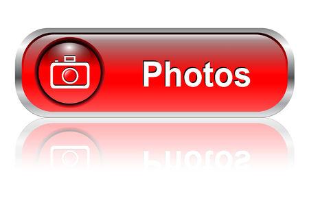photo gallery: Foto galer�a de bot�n, icono rojo brillante con sombra, ilustraci�n