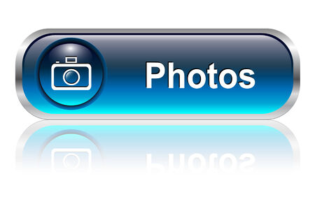 Photo gallery button, icon blue glossy with shadow, illustration