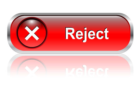 reject: reject, deny symbol icon, button, red glossy with shadow