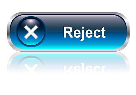 negar: rechazar, negar el icono de s�mbolo, el bot�n, el color azul brillante con sombra  Vectores
