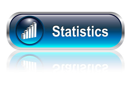 Statistics button, icon blue glossy with shadow, illustration Stock Vector - 6470703