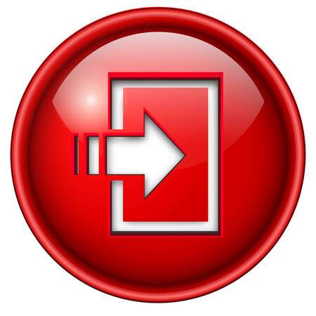 enter icon, button, 3d red glossy circle.