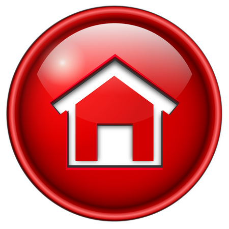 home icon, button, 3d red glossy circle. Vector