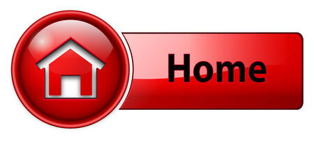 home icon: home icon, button, red glossy.