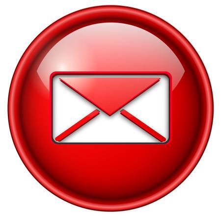 bouton brillant: Courrier, ic�ne de courrier �lectronique, bouton, 3d cercle brillant rouge. Illustration