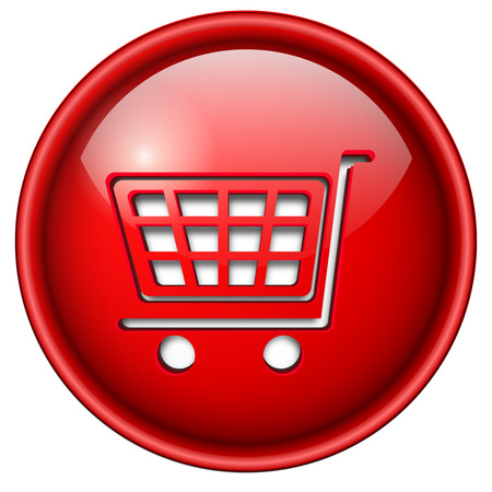 buy, shopping icon, button, 3d red glossy circle. Vector