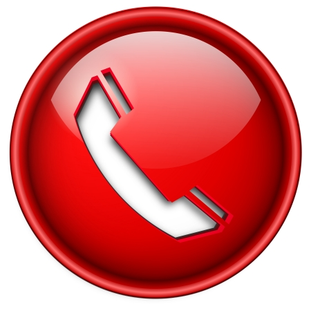 red icon: Telephone, phone icon, button, 3d red glossy circle.