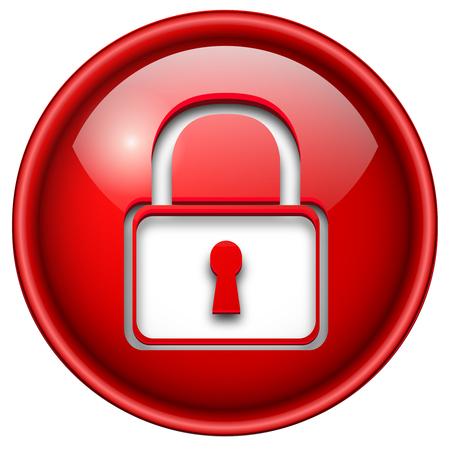 icono candado: Icono de candado, bot�n, 3d c�rculo brillante rojo.