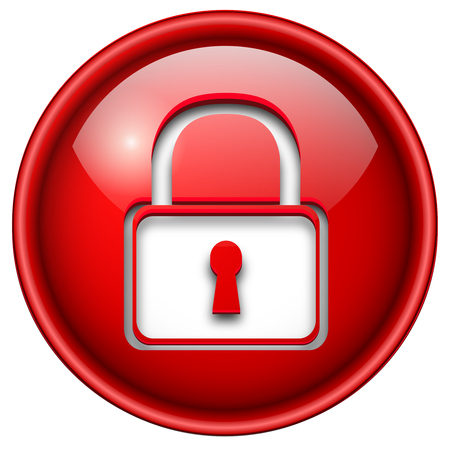 Padlock icon, button, 3d red glossy circle. Vector
