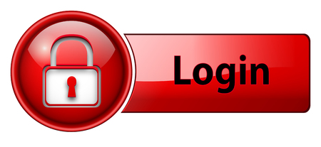 login, padlock icon button, red glossy.