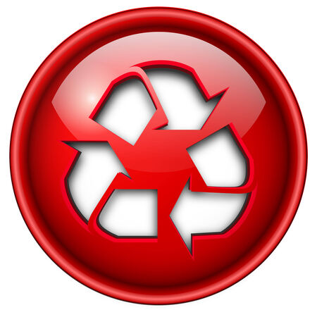 Recycle icon, button, 3d red glossy circle. Stock Vector - 6470723