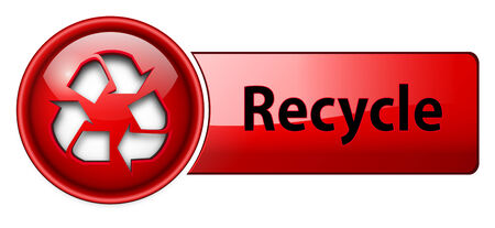 Recycle icon button, red glossy. Stock Vector - 6470709