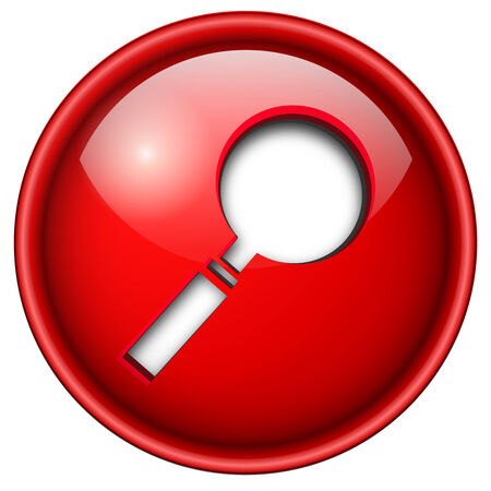 magnify glass: Search, magnifying glass icon, button, 3d red glossy circle.