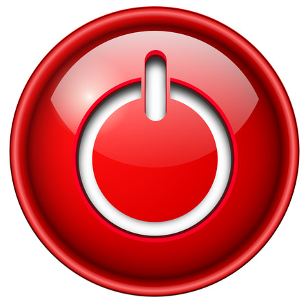 Power on, start icon, button, 3d red glossy circle. Vector