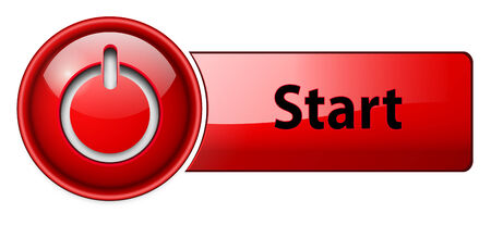 Start icon button, red glossy. Vector