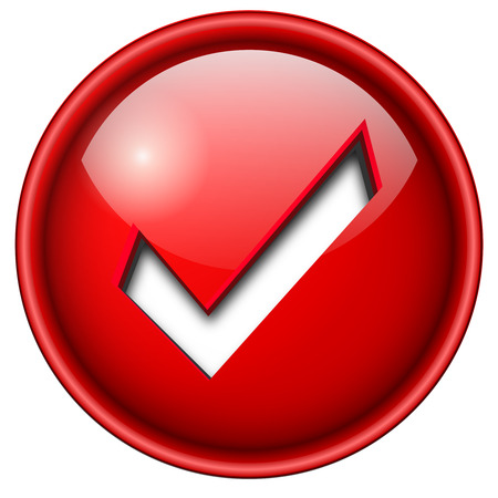 accept: Accept mark, sign icon, button, 3d red glossy circle.