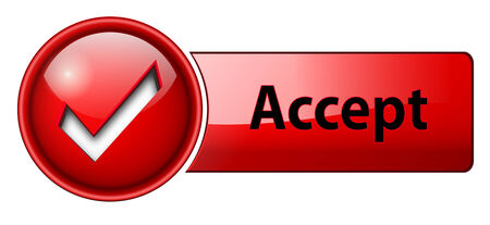 accept: accept mark icon, button, red glossy. Illustration
