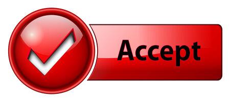 accepter: accepter la marque ic�ne, bouton, rouge brillant. Illustration