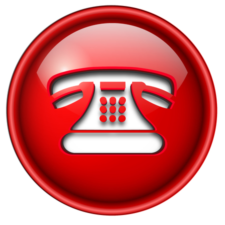 Telephone contact icon, button, 3d red glossy circle. Vector