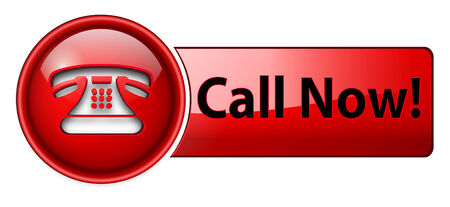 Telephone, call now icon, button, red glossy. Vector