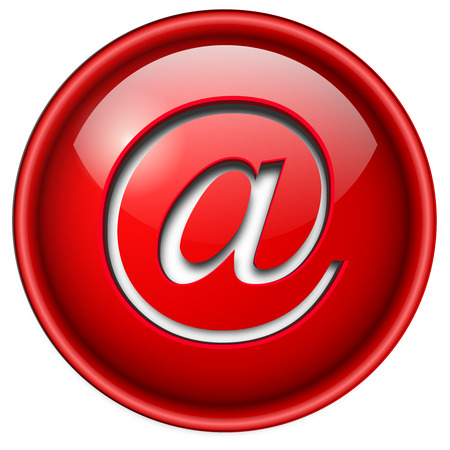email icon: Email mail icon, button, 3d red glossy circle.