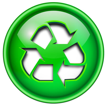 Recycle icon, button, 3d green glossy circle. Vector