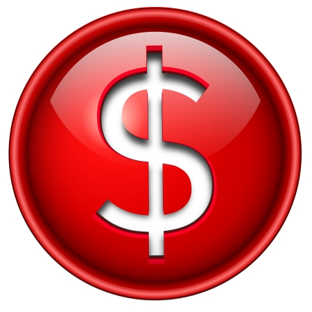 www at sign: Dollar sign icon, button, 3d red glossy circle. Illustration