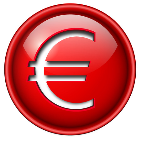 Euro sign icon, button, 3d red glossy circle. Stock Vector - 6470733