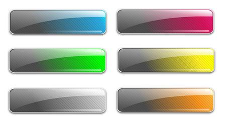 bouton brillant: Web de verre boutons haut brillant, unique design, illustration.