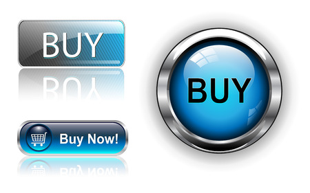 add icon: Three different buy icon button blue,  illustration.