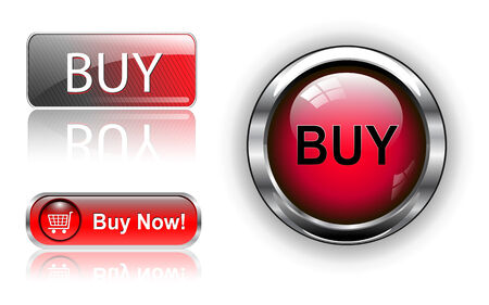 Three different buy icon button red, illustration. Vector