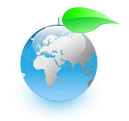 Blue Earth globe withs green leaf - green, ecology planet concept. Vector